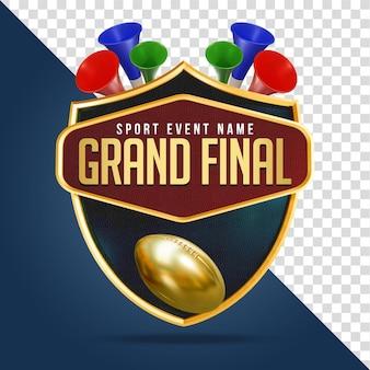 Grand final football render-zusammensetzung isolierte schicht