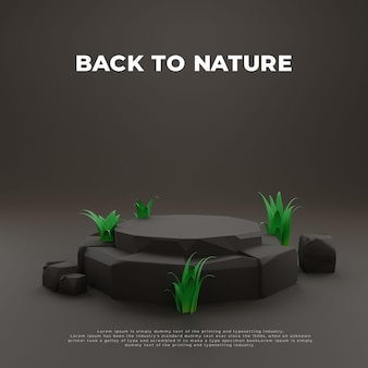 Grass stone 3d realistisches podium produkt-promo-display