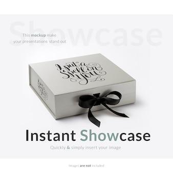 Graue geschenkbox mock up