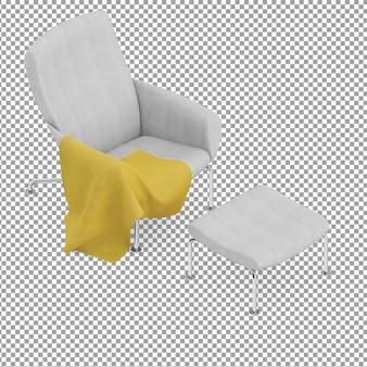 Grauer isometrischer sessel mit beinauflage