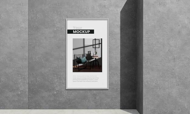 Graues betonmodell des städtischen plakats