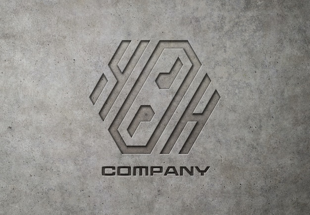 Graviertes logo auf betonmodell