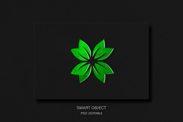 Green leaf logo-modell mit glanzeffekt