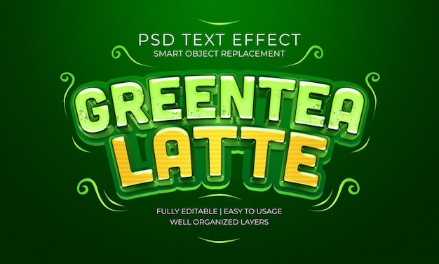 Greentea latte text effekt