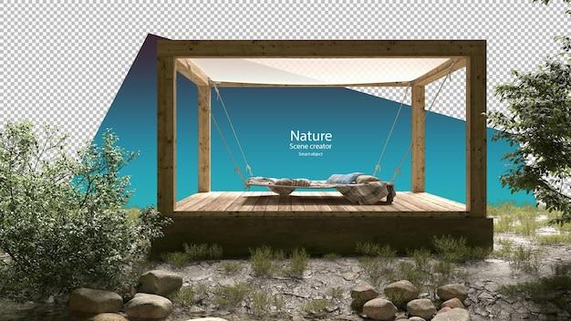 Große outdoor-hängematte in kleinem pavillon in der nähe von bächen und flusspflanzen bachumgebung