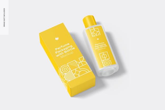 Große parfümverpackung mit flaschenmodell, draufsicht