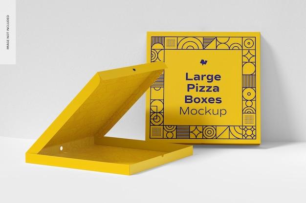 Große pizza box mockup, gelehnt