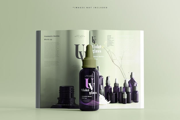 Große uv-glas-tropfflasche mit magazinmodell