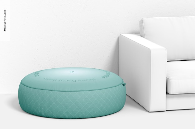 Großer pouf mit couch-mockup