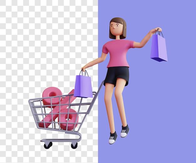 Großer rabatt einkaufen mit wagen 3d illustrationskonzept