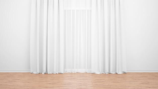 Großes fenster mit zarten weißen vorhängen. holzboden. leerer raum als minimalkonzept