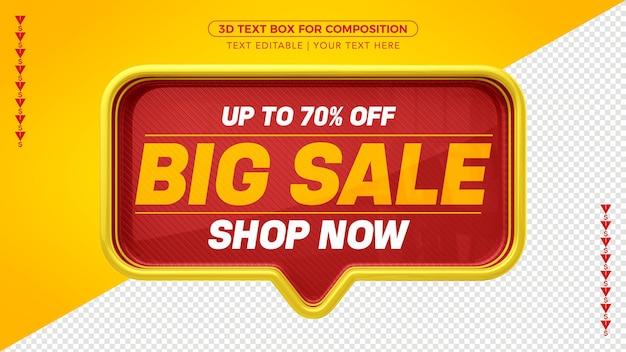 Großes rotes und gelbes 3d-textfeld mit bis zu 70% rabatt