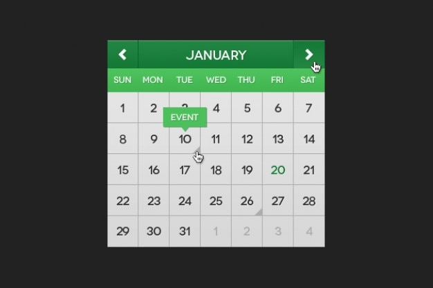 Grün kalender psd material
