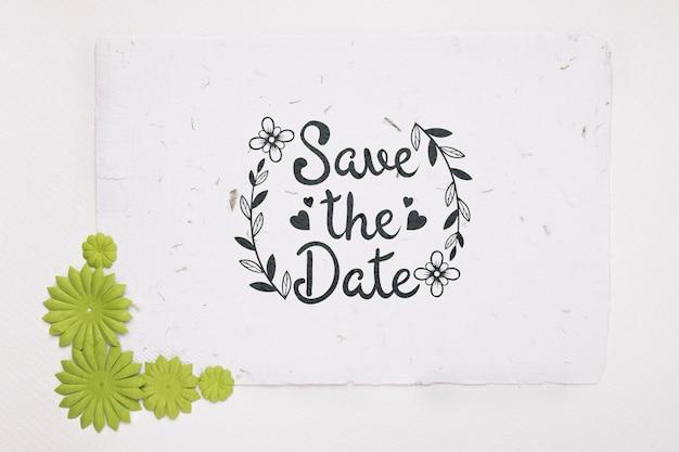 Grüne blumen speichern das datumsmodell