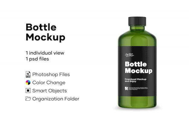 Grüne flasche mockup