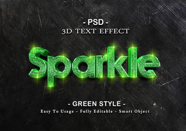 Grüne funkelnde texteffektschablone