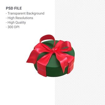Grüne geschenkbox 3d mit rotem band lokalisiert