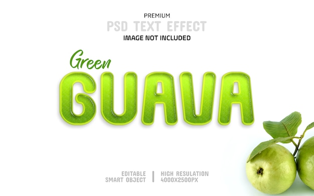 Grüne guave-text-effekt-schablone
