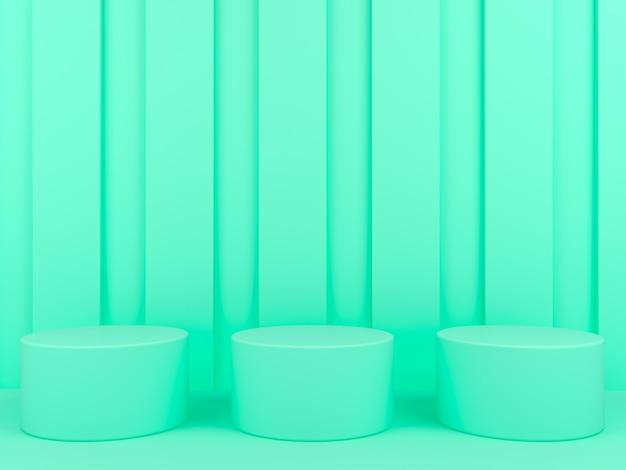 Grüne podestanzeige der geometrischen form im 3d-rendering des pastellhintergrunds