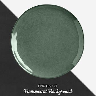 Grüne porzellanrundplatte auf transparentem hintergrund