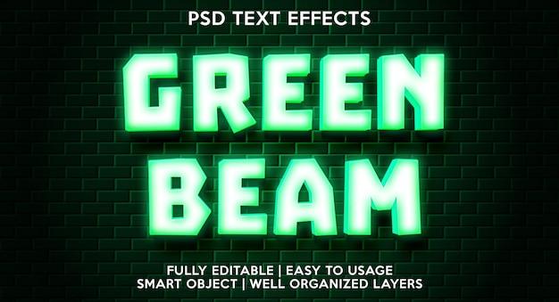 Grüne strahl-texteffektvorlage