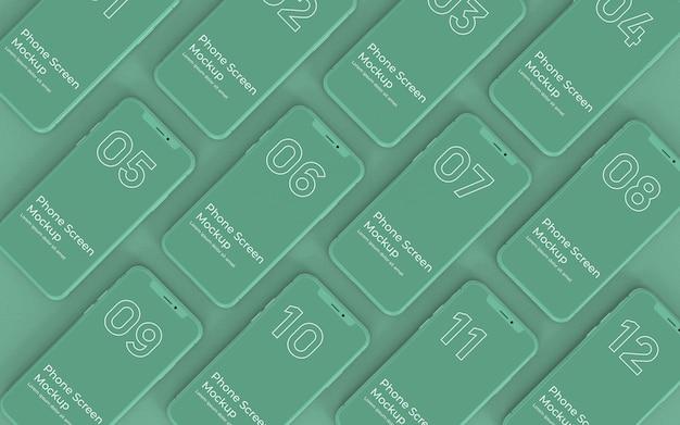 Grüne telefonbildschirme mockup-draufsicht