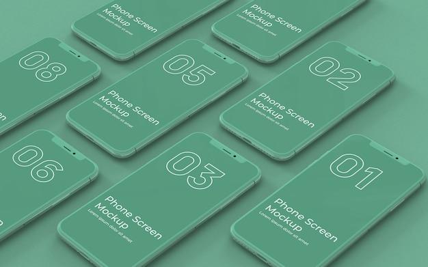 Grüne telefonbildschirme modell links ansicht