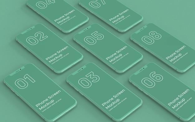 Grüne telefonbildschirme modell rechte ansicht