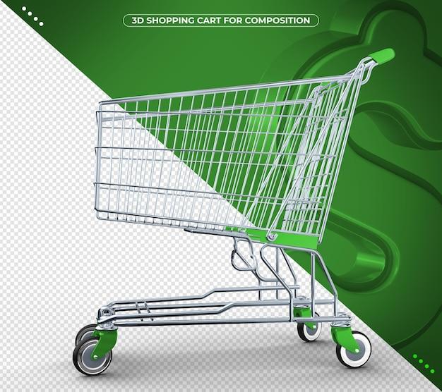Grüner 3d supermarktwagen isoliert