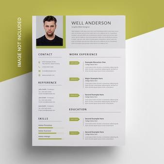 Grüner akzent mit corporare resume design