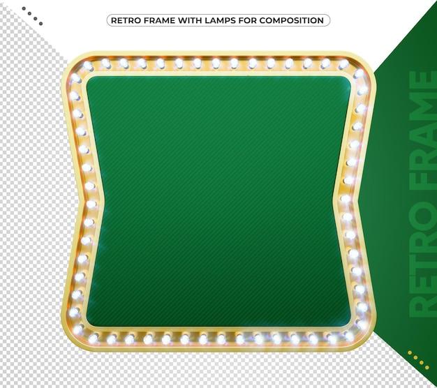 Grüner led-retro-rahmen mit vintage-gold für komposition