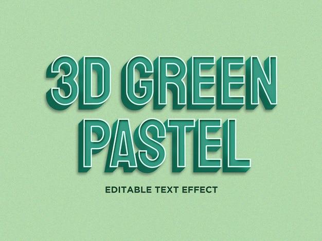 Grüner pastelltext 3d bewirken erstklassiges psd