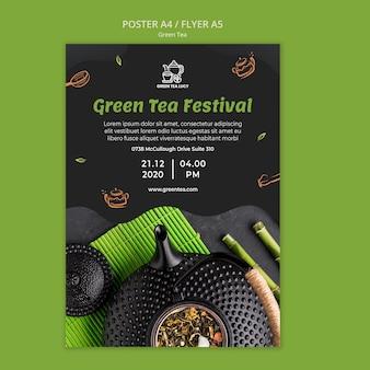 Grüner tee-anzeigenplakatschablone