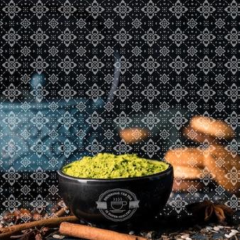 Grüner tee pulver asiatischen matcha