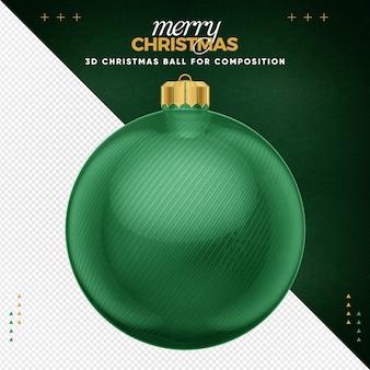 Grüner weihnachtsball für komposition