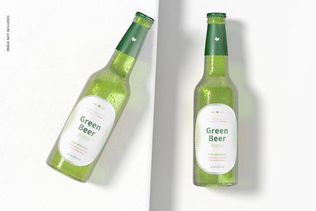 Grünes bierflaschenmodell, ansicht von oben