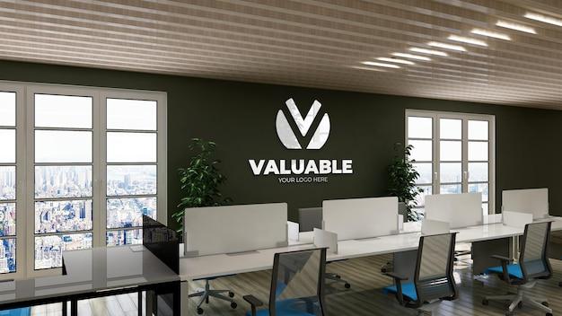 Grünes büroraum arbeitsplatz wand logo mockup