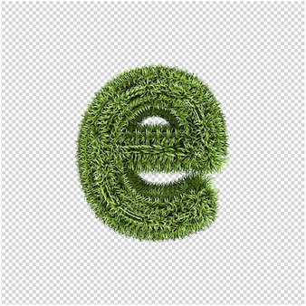 Grünes gras buchstaben 3d-rendering