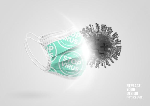 Grünes medizinisches maskenkampfvirus-werbemodell