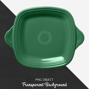 Grünes quadratisches geschirr auf transparentem hintergrund
