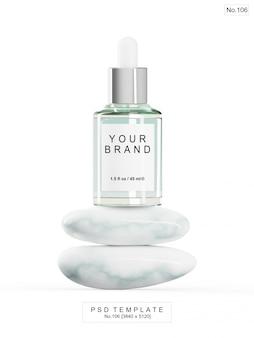 Grünes serum mit marmorstein. 3d render