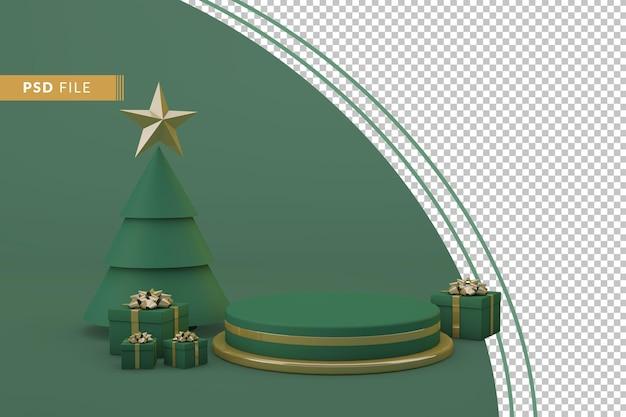 Grünes weihnachtspodium mit isoliertem hintergrund