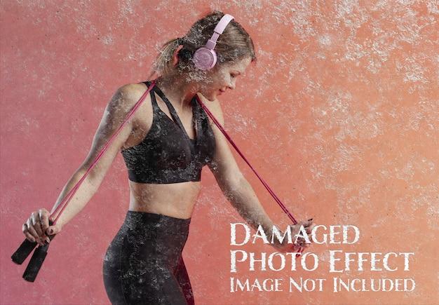 Grunge-fotoeffekt auf mockup der konkreten textur
