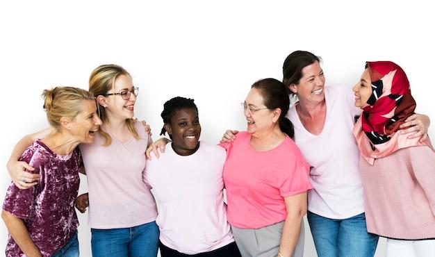 Gruppe der weiblichen feminismuszusammengehörigkeits-lächelnde teamwork