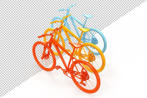 Gruppe von bunten fahrrädern 3d rendering Premium PSD