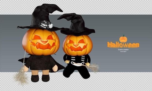 Gruseliger und süßer halloween-kürbispuppen-charakter mit hexenhut und fliegendem besen