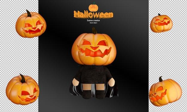 Gruseliger und süßer halloween-kürbispuppen-charakter mit hexenhut