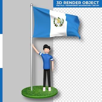Guatemala-flagge mit niedlichen menschen-cartoon-figur. tag der unabhängigkeit. 3d-rendering.