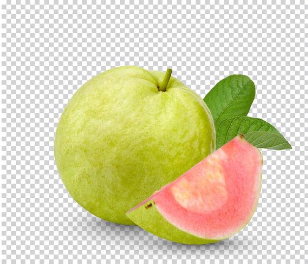 Guavenfrucht mit blättern isoliert