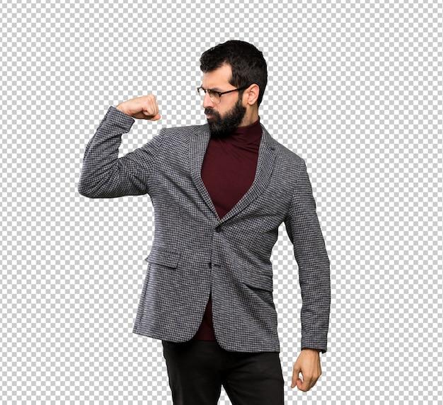 Gut aussehender mann mit brille, die starke geste tut